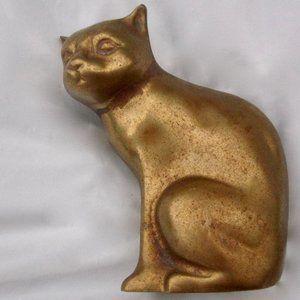 VTG Brass Kitty Cat Figurine Distressed Patina